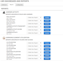 Learning management customizable reports